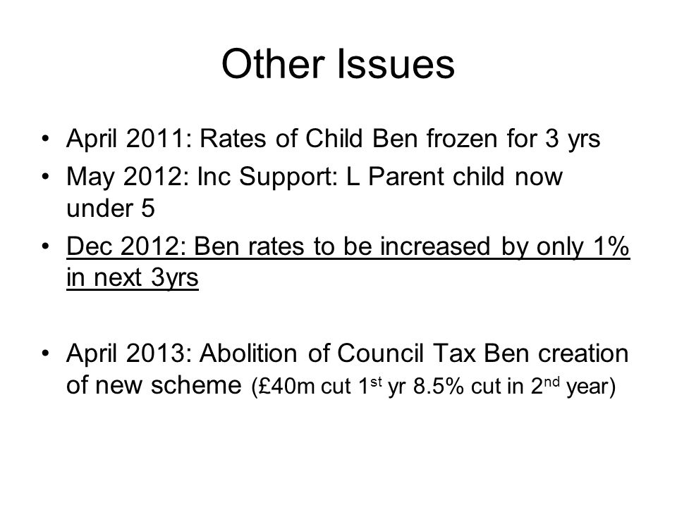 Other Issues April 2011: Rates of Child Ben frozen for 3 yrs May 2012: Inc Support: L Parent child now under 5 Dec 2012: Ben rates to be increased by only 1% in next 3yrs April 2013: Abolition of Council Tax Ben creation of new scheme (£40m cut 1 st yr 8.5% cut in 2 nd year)