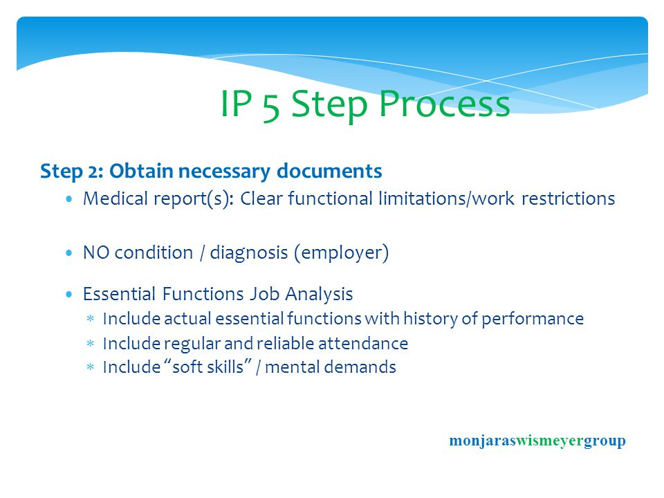 IP 5 Step Process Step 2: Obtain necessary documents Medical report(s): Clear functional limitations/work restrictions NO condition / diagnosis (employer) Essential Functions Job Analysis  Include actual essential functions with history of performance  Include regular and reliable attendance  Include soft skills / mental demands monjaraswismeyergroup
