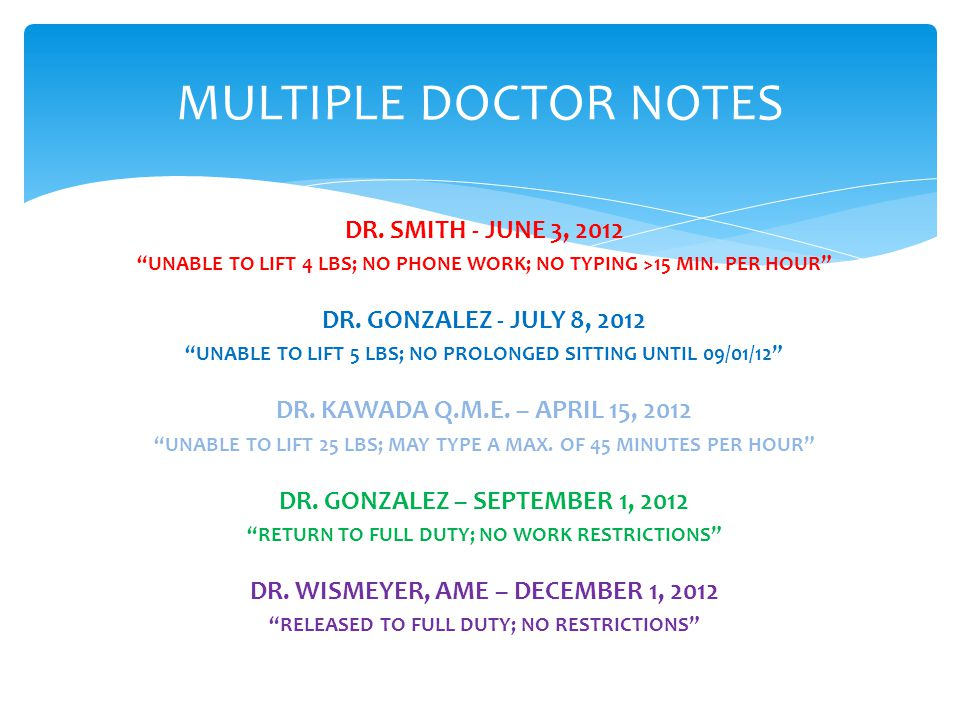 MULTIPLE DOCTOR NOTES DR.