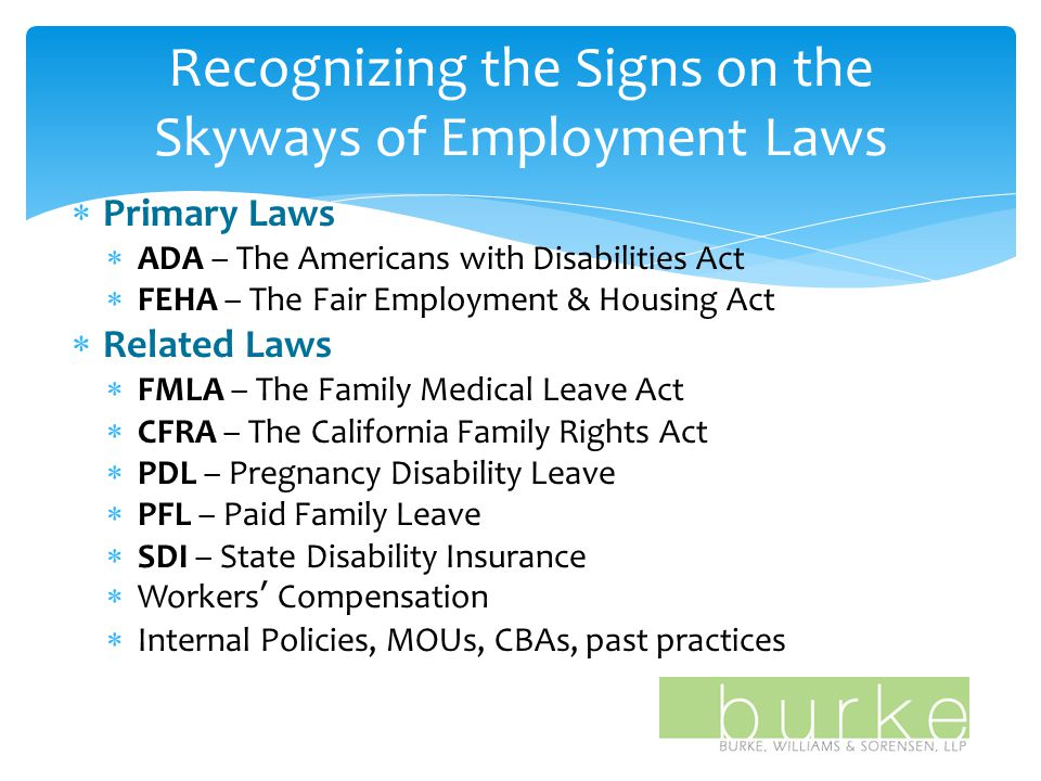 Recognizing the Signs on the Skyways of Employment Laws  Primary Laws  ADA – The Americans with Disabilities Act  FEHA – The Fair Employment & Housing Act  Related Laws  FMLA – The Family Medical Leave Act  CFRA – The California Family Rights Act  PDL – Pregnancy Disability Leave  PFL – Paid Family Leave  SDI – State Disability Insurance  Workers' Compensation  Internal Policies, MOUs, CBAs, past practices