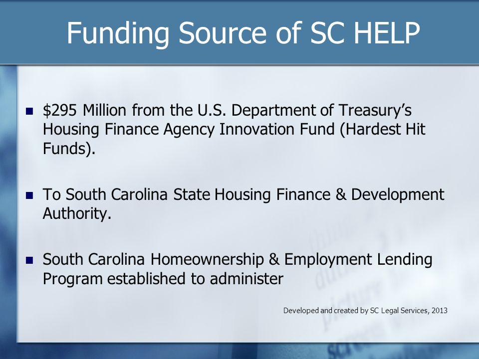 Funding Source of SC HELP $295 Million from the U.S.