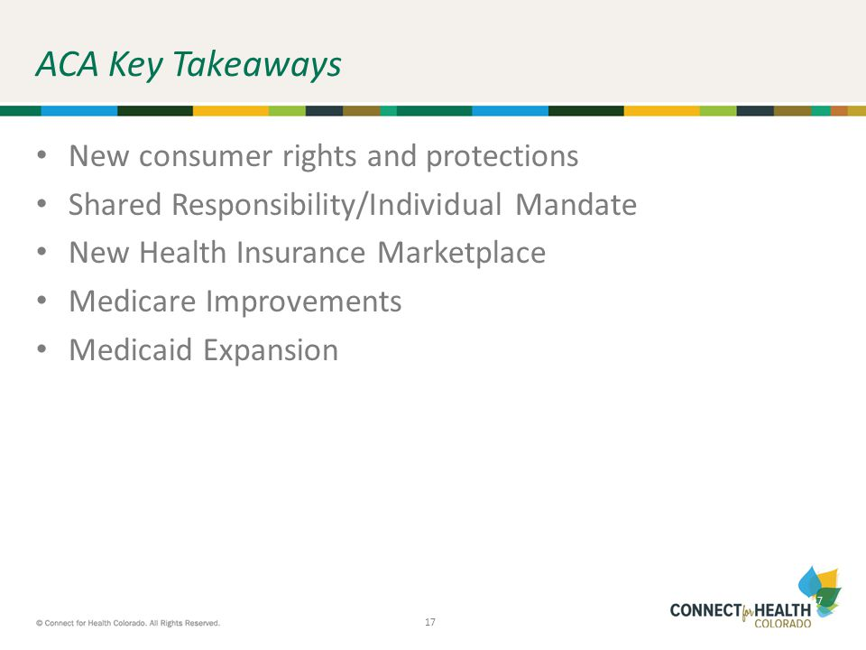 17 ACA Key Takeaways New consumer rights and protections Shared Responsibility/Individual Mandate New Health Insurance Marketplace Medicare Improvemen