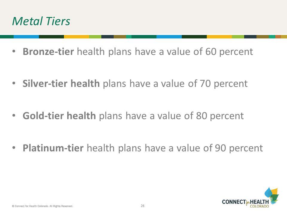 26 Metal Tiers Bronze-tier health plans have a value of 60 percent Silver-tier health plans have a value of 70 percent Gold-tier health plans have a v