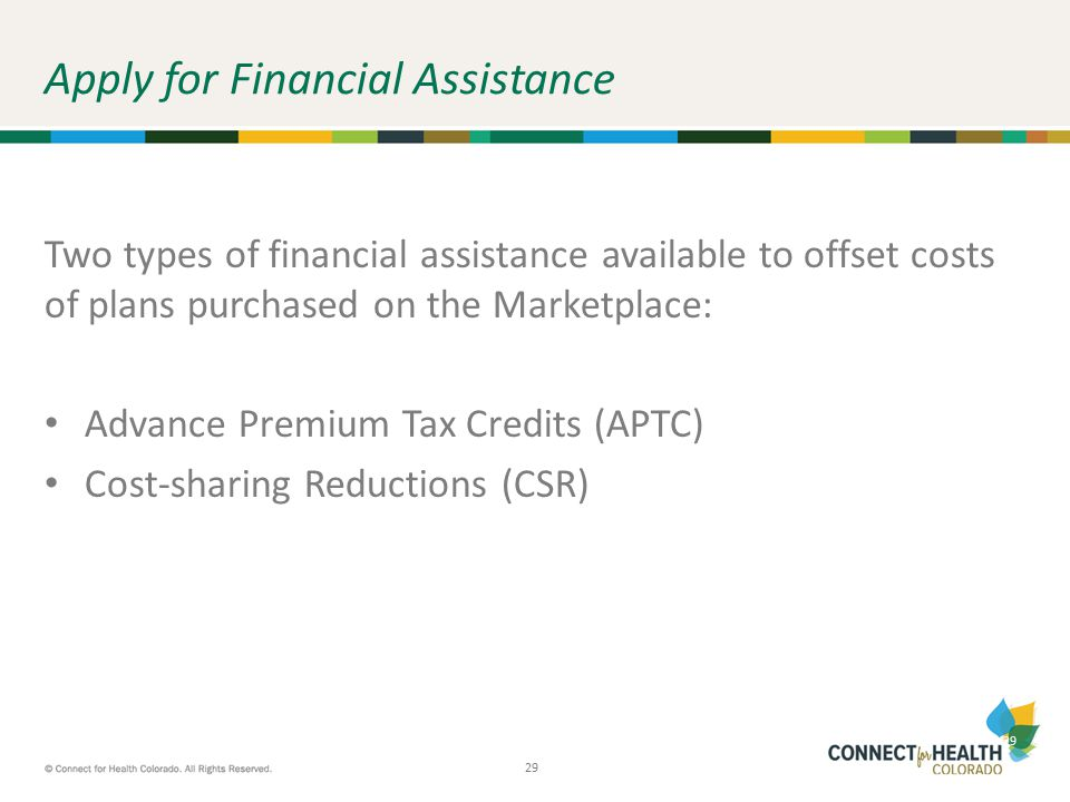 29 Apply for Financial Assistance Two types of financial assistance available to offset costs of plans purchased on the Marketplace: Advance Premium T