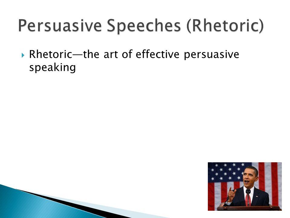  Rhetoric—the art of effective persuasive speaking