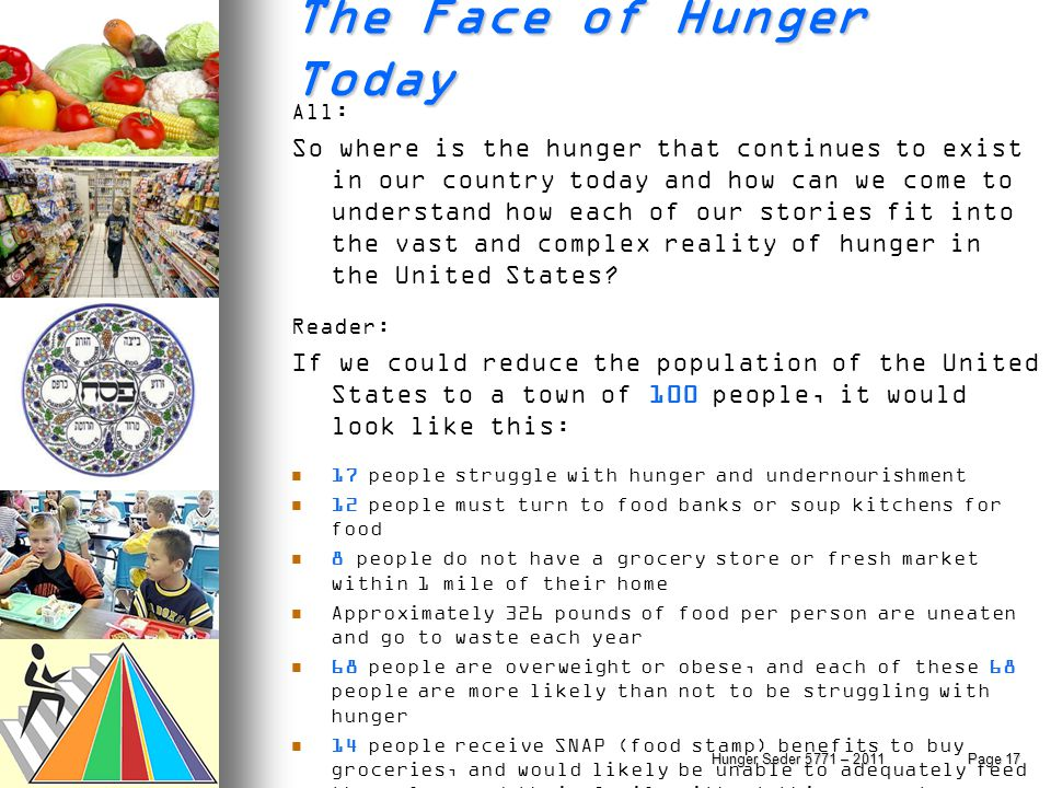 The Face of Hunger Today All : So where is the hunger that continues to exist in our country today and how can we come to understand how each of our s