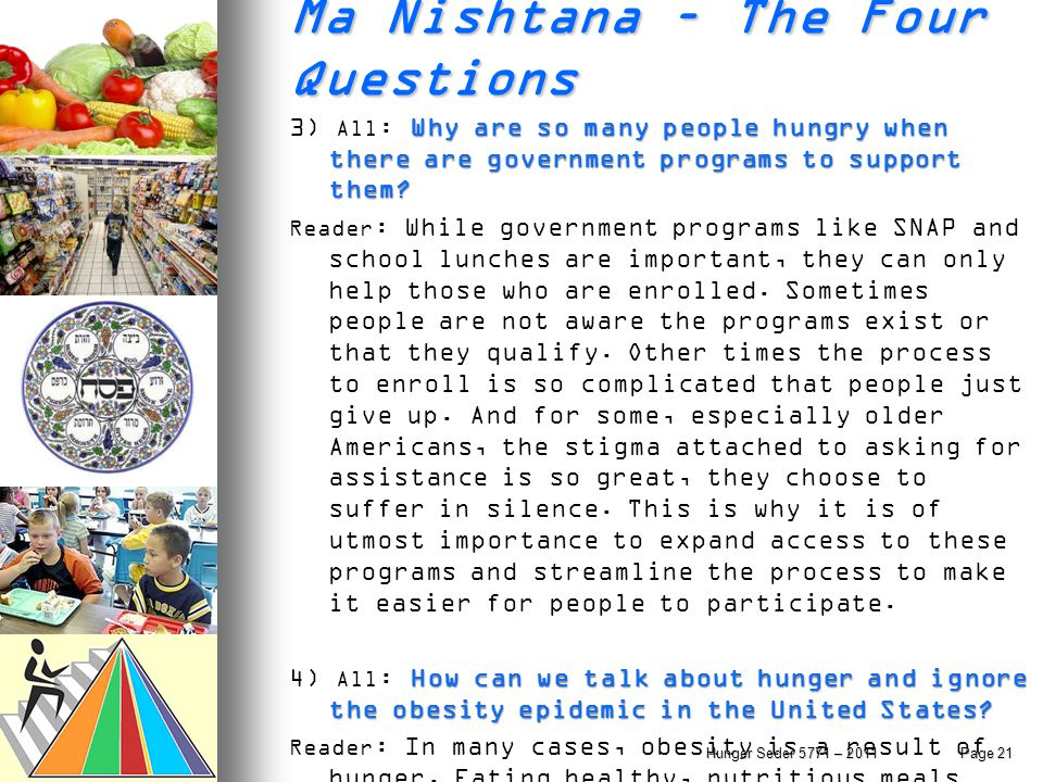 Ma Nishtana – The Four Questions Why are so many people hungry when there are government programs to support them? 3) All : Why are so many people hun