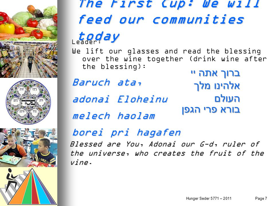 Hunger Seder 5771 – 2011Page 7 The First Cup: We will feed our communities today Leader: We lift our glasses and read the blessing over the wine toget