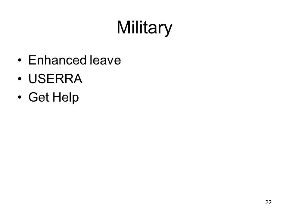 Military Enhanced leave USERRA Get Help 22