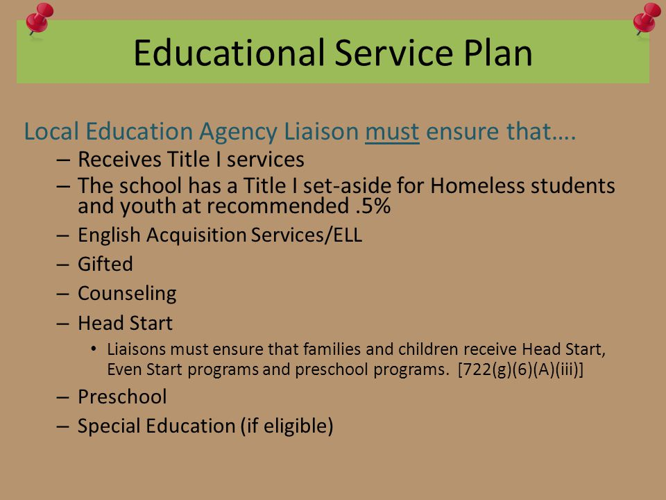 Educational Service Plan Local Education Agency Liaison must ensure that…. – Receives Title I services – The school has a Title I set-aside for Homele