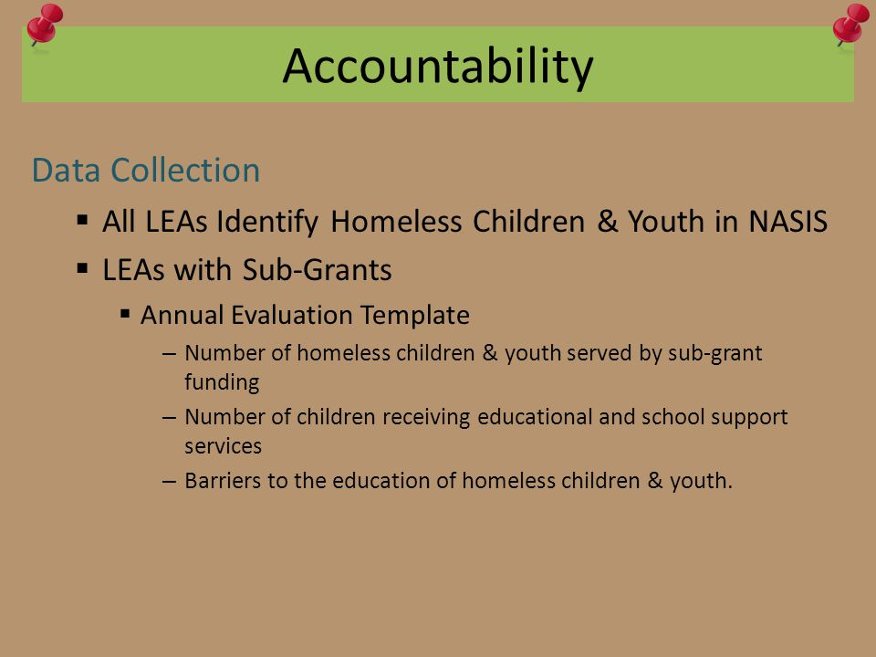 Accountability Data Collection  All LEAs Identify Homeless Children & Youth in NASIS  LEAs with Sub-Grants  Annual Evaluation Template – Number of homeless children & youth served by sub-grant funding – Number of children receiving educational and school support services – Barriers to the education of homeless children & youth.