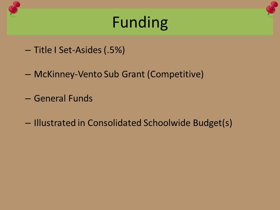 Funding – Title I Set-Asides (.5%) – McKinney-Vento Sub Grant (Competitive) – General Funds – Illustrated in Consolidated Schoolwide Budget(s)