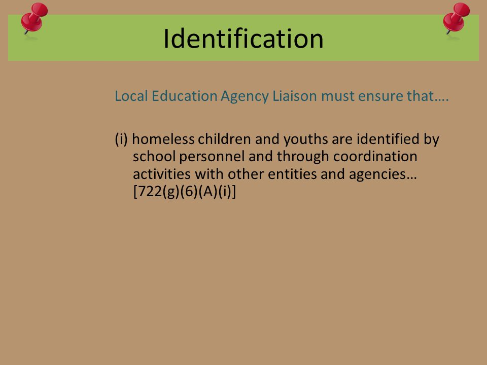 Identification Local Education Agency Liaison must ensure that….