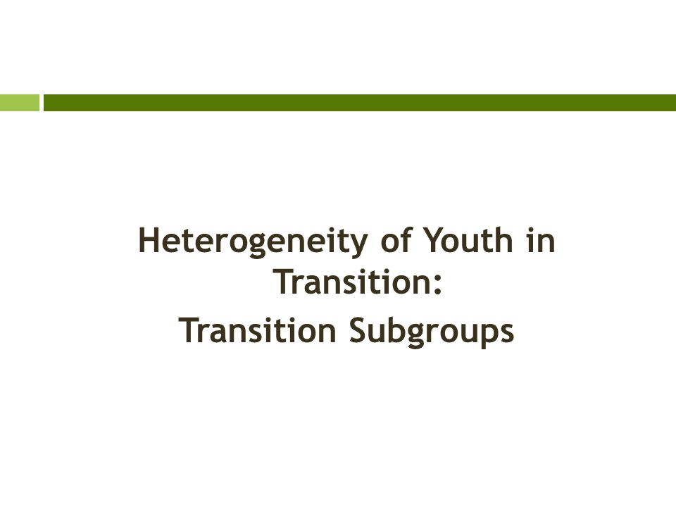 Heterogeneity of Youth in Transition: Transition Subgroups