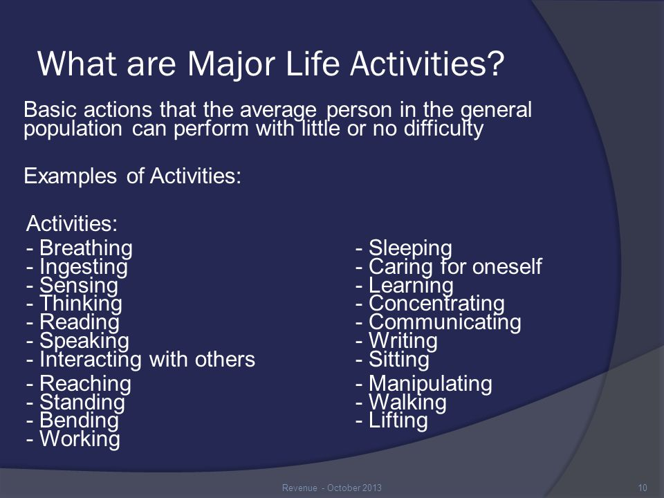 What are Major Life Activities.