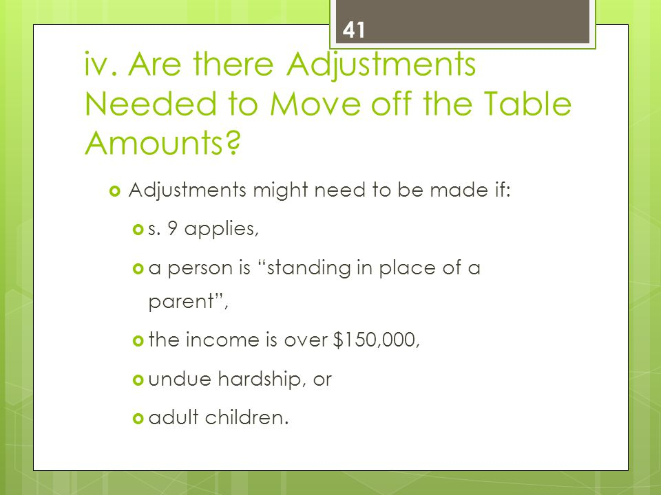 iv. Are there Adjustments Needed to Move off the Table Amounts.