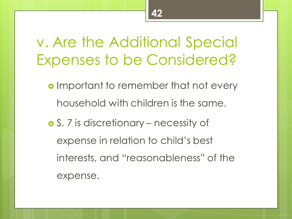v. Are the Additional Special Expenses to be Considered.