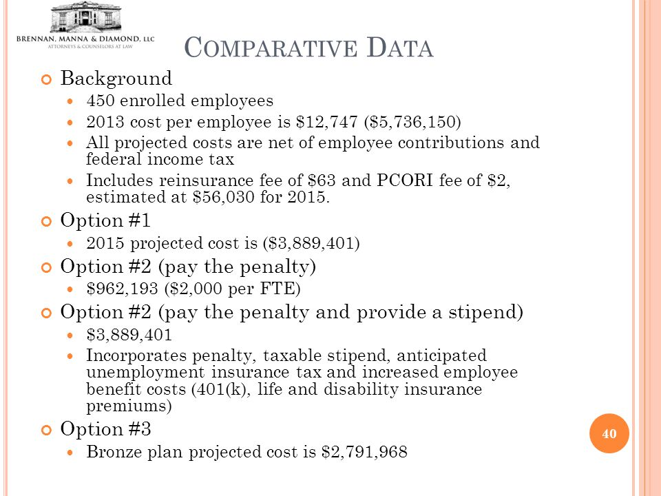 C OMPARATIVE D ATA Background 450 enrolled employees 2013 cost per employee is $12,747 ($5,736,150) All projected costs are net of employee contributions and federal income tax Includes reinsurance fee of $63 and PCORI fee of $2, estimated at $56,030 for 2015.