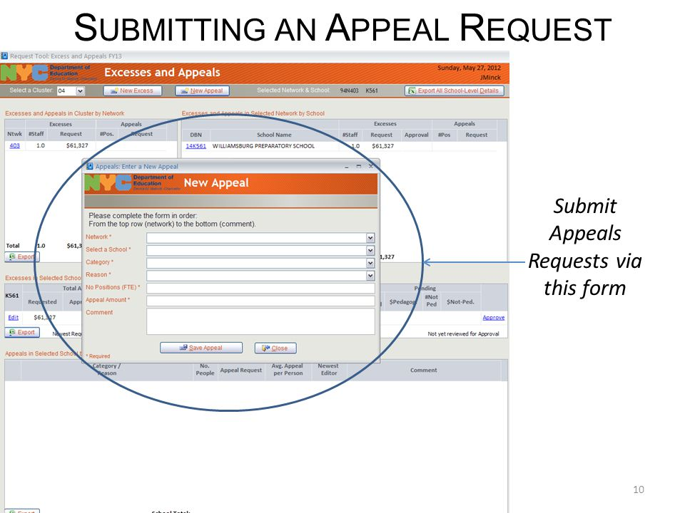 10 S UBMITTING AN A PPEAL R EQUEST Submit Appeals Requests via this form