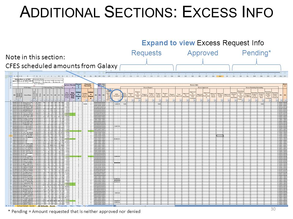 30 A DDITIONAL S ECTIONS : E XCESS I NFO RequestsApprovedPending* Note in this section: CFES scheduled amounts from Galaxy Expand to view Excess Request Info * Pending = Amount requested that is neither approved nor denied