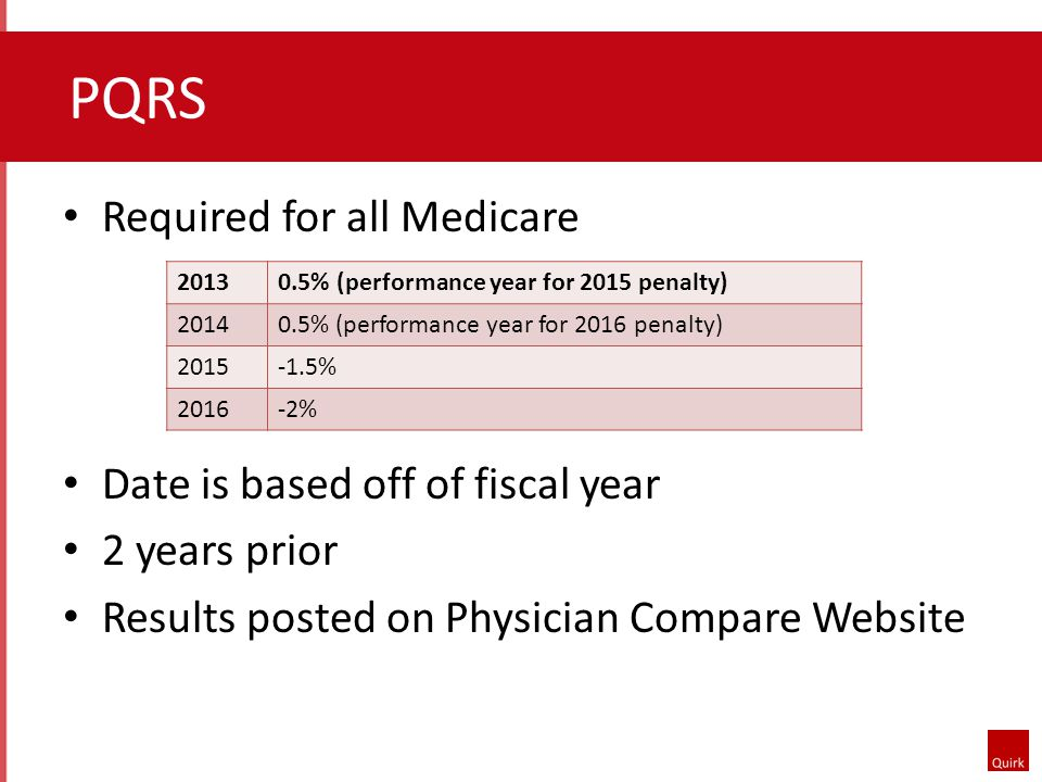 PQRS Required for all Medicare Date is based off of fiscal year 2 years prior Results posted on Physician Compare Website 20130.5% (performance year for 2015 penalty) 20140.5% (performance year for 2016 penalty) 2015-1.5% 2016-2%