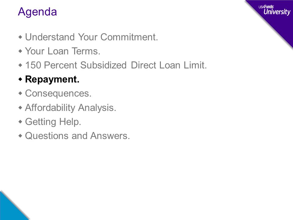 Agenda  Understand Your Commitment.  Your Loan Terms.