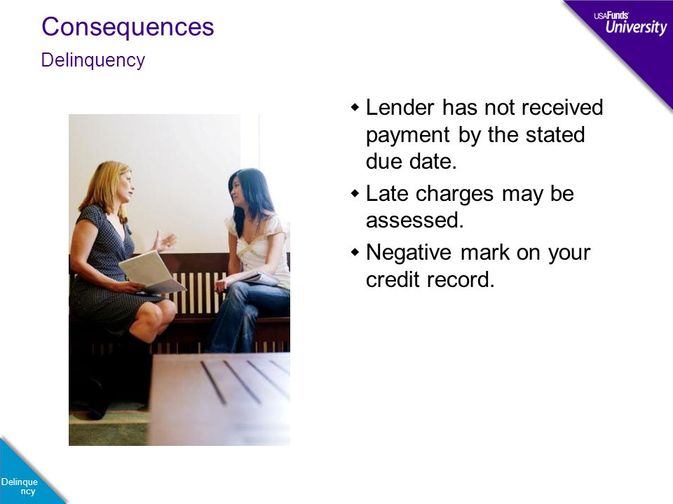 Consequences Delinque ncy  Lender has not received payment by the stated due date.  Late charges may be assessed.  Negative mark on your credit rec