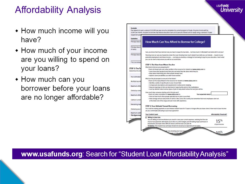 Affordability Analysis  How much income will you have.