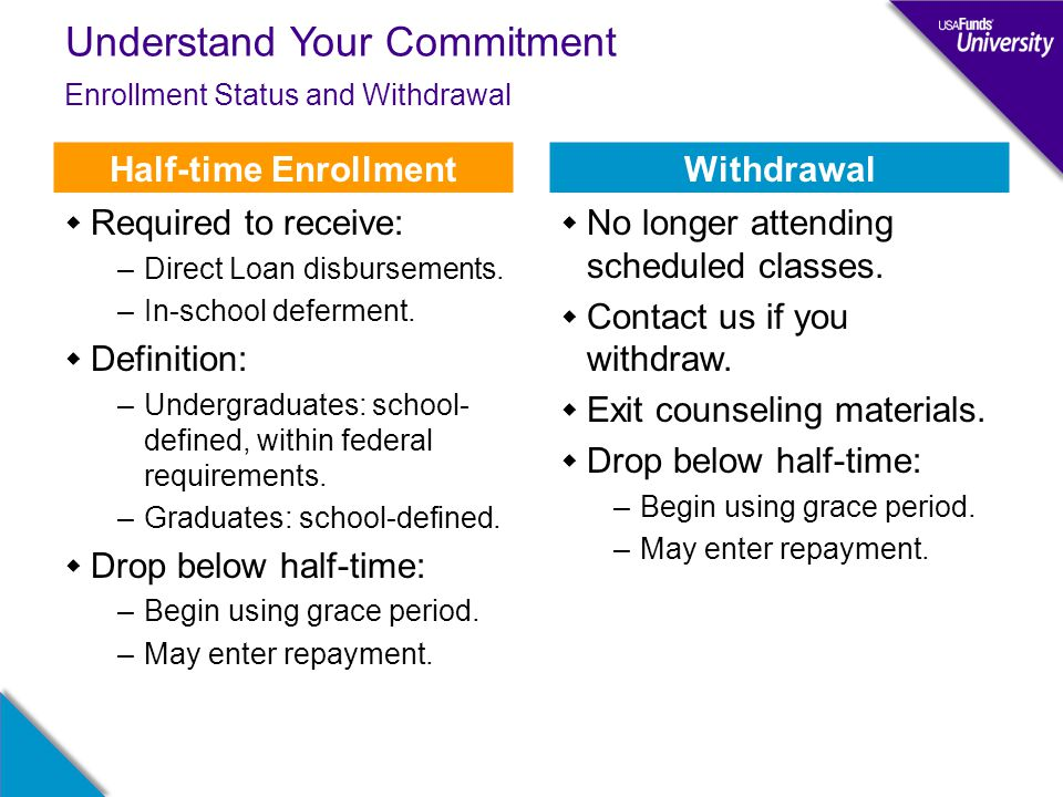 Understand Your Commitment Enrollment Status and Withdrawal Half-time Enrollment  Required to receive: –Direct Loan disbursements. –In-school deferme