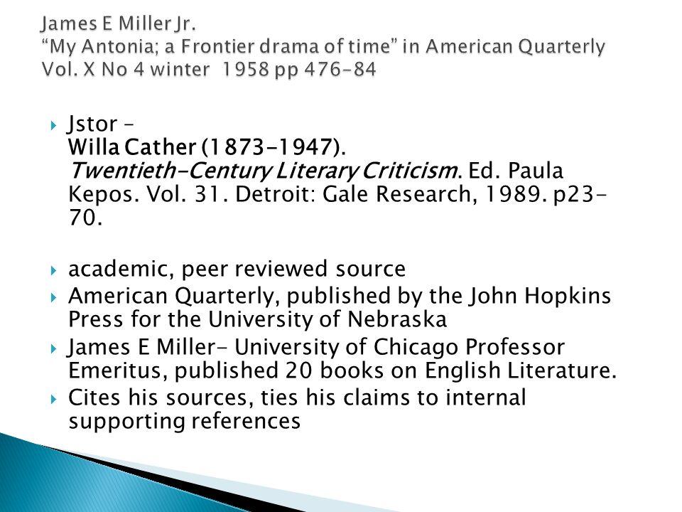  Jstor – Willa Cather (1873-1947). Twentieth-Century Literary Criticism.