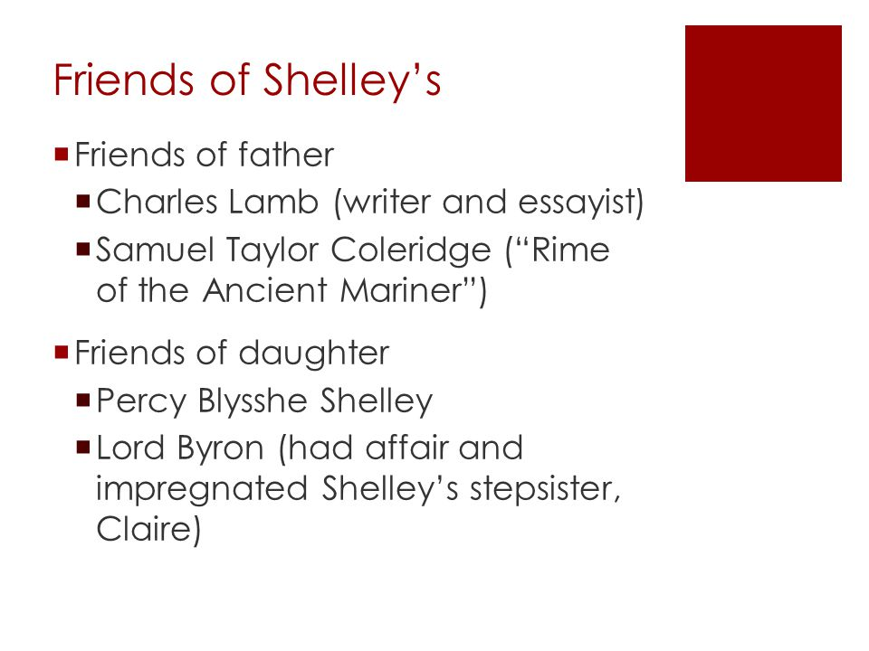 """Friends of Shelley's  Friends of father  Charles Lamb (writer and essayist)  Samuel Taylor Coleridge (""""Rime of the Ancient Mariner"""")  Friends of d"""