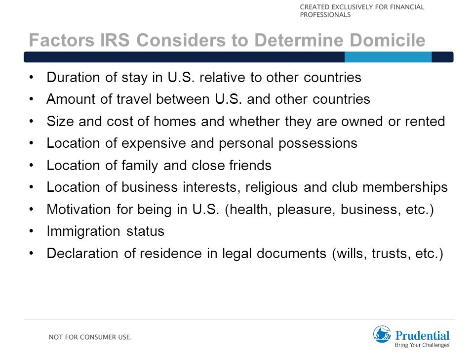 Factors IRS Considers to Determine Domicile Duration of stay in U.S.