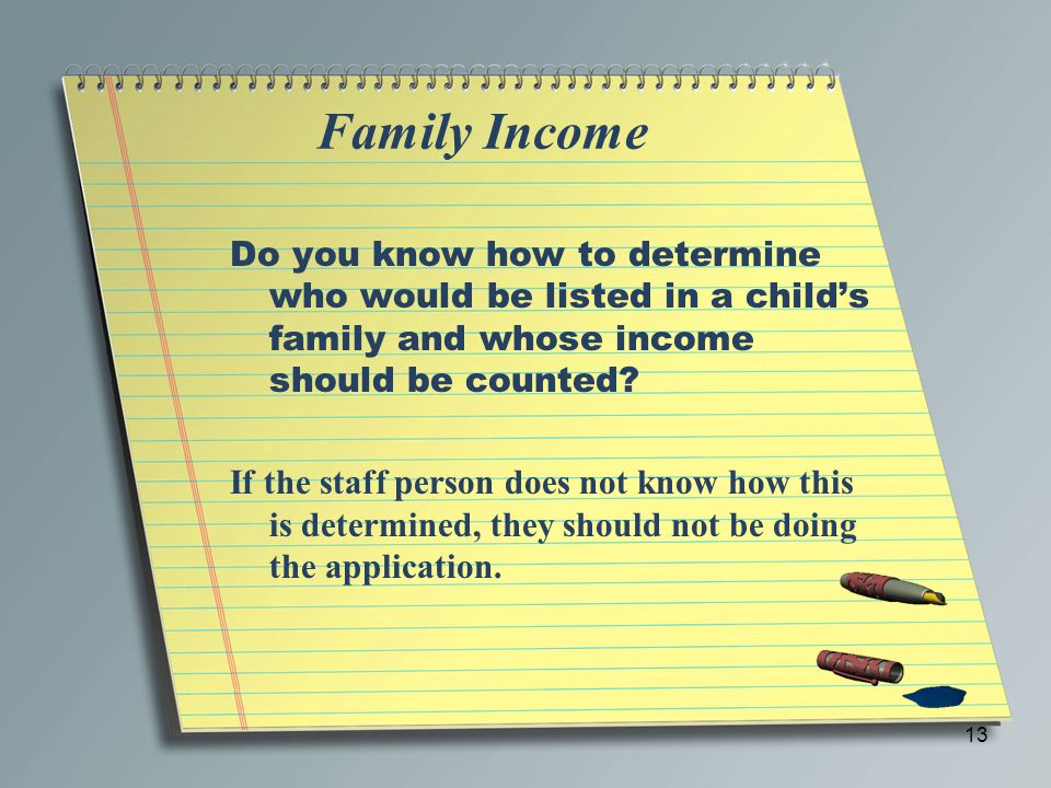 Family Income Do you know how to determine who would be listed in a child's family and whose income should be counted? If the staff person does not kn