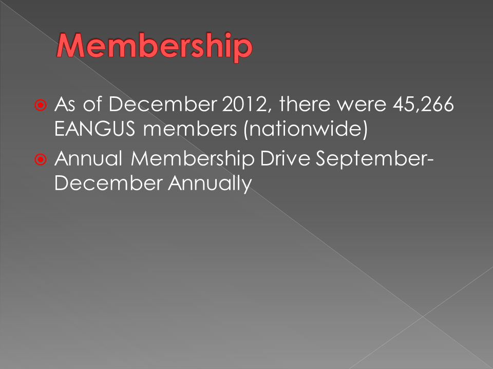  As of December 2012, there were 45,266 EANGUS members (nationwide)  Annual Membership Drive September- December Annually