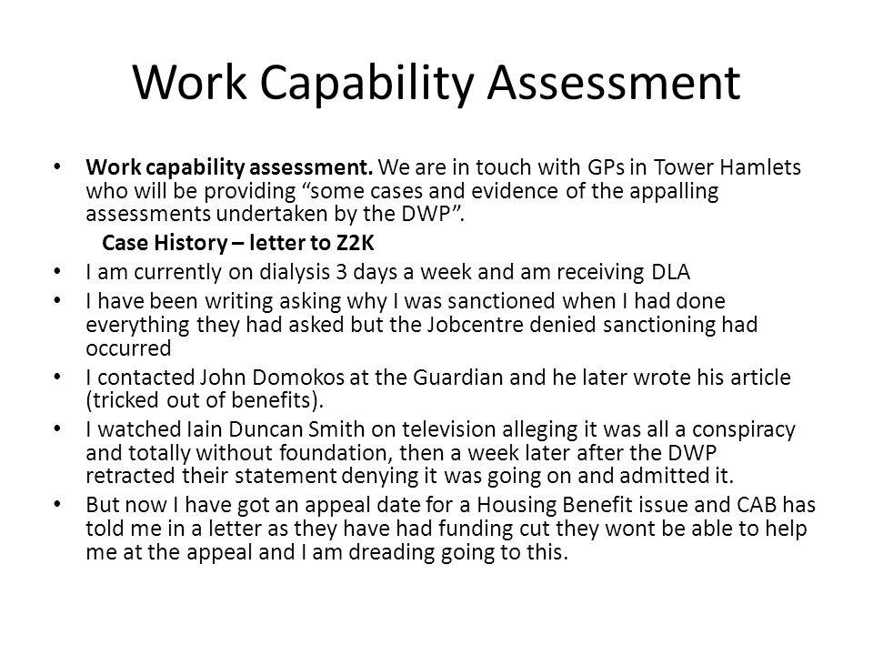 Work Capability Assessment Work capability assessment.