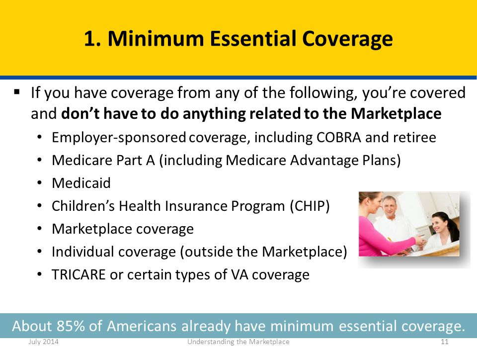 11 About 85% of Americans already have minimum essential coverage.  If you have coverage from any of the following, you're covered and don't have to