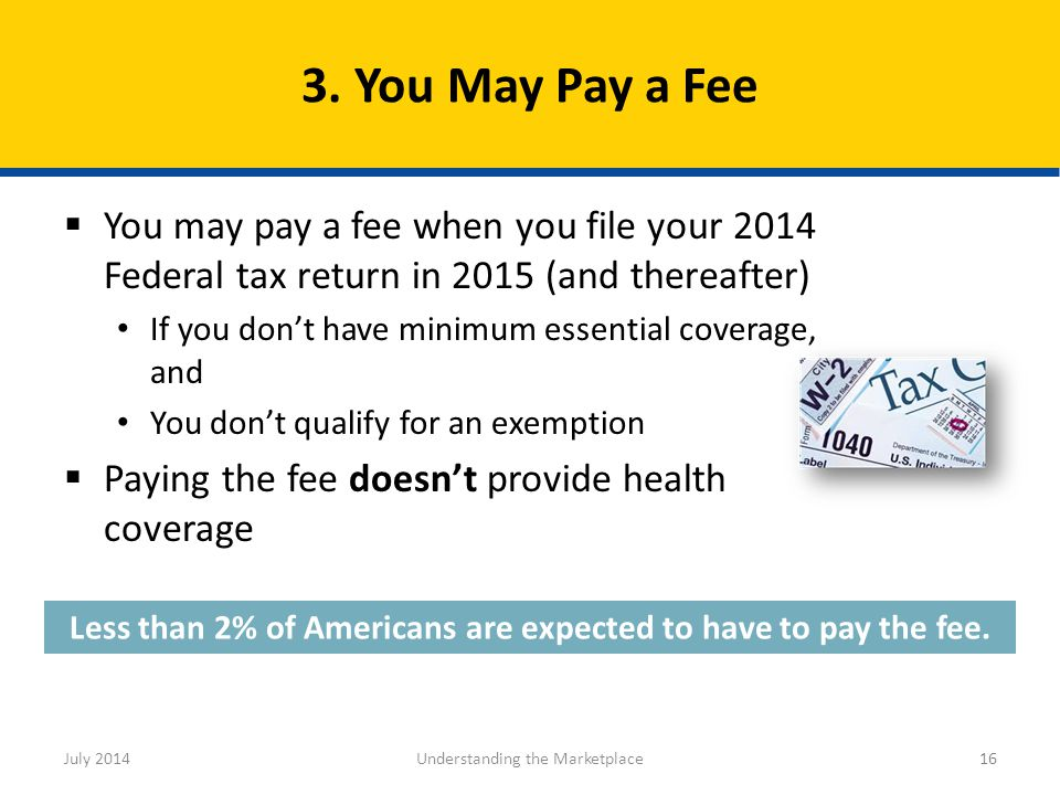 16 Less than 2% of Americans are expected to have to pay the fee.  You may pay a fee when you file your 2014 Federal tax return in 2015 (and thereaft