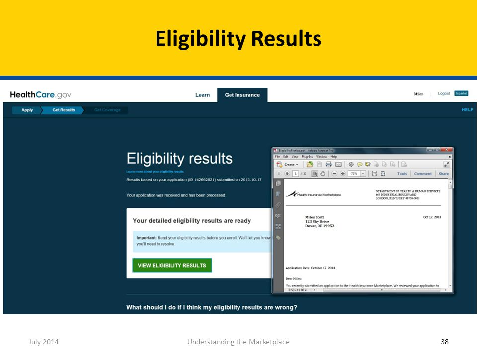 Eligibility Results July 2014Understanding the Marketplace38