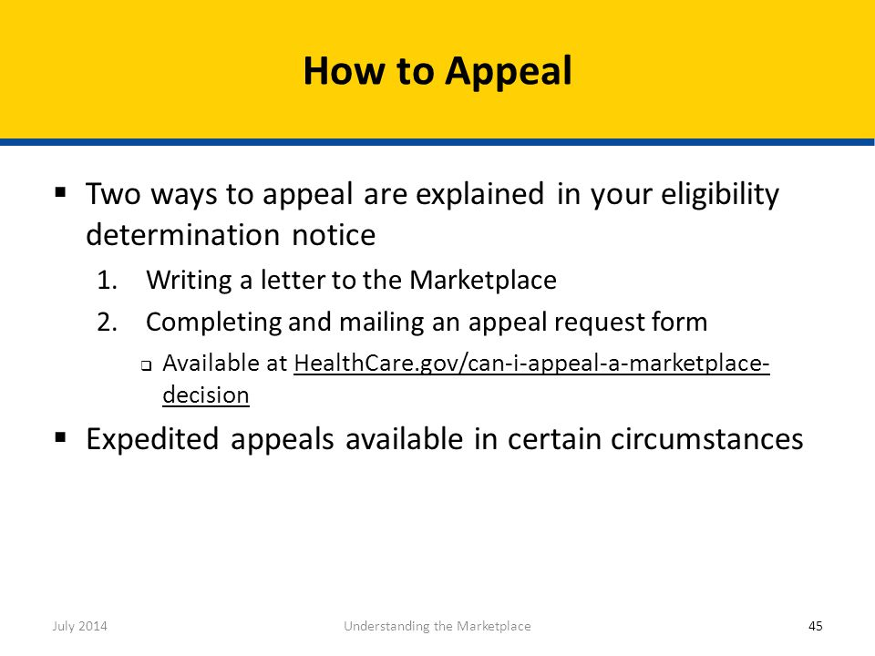  Two ways to appeal are explained in your eligibility determination notice 1.Writing a letter to the Marketplace 2.Completing and mailing an appeal r