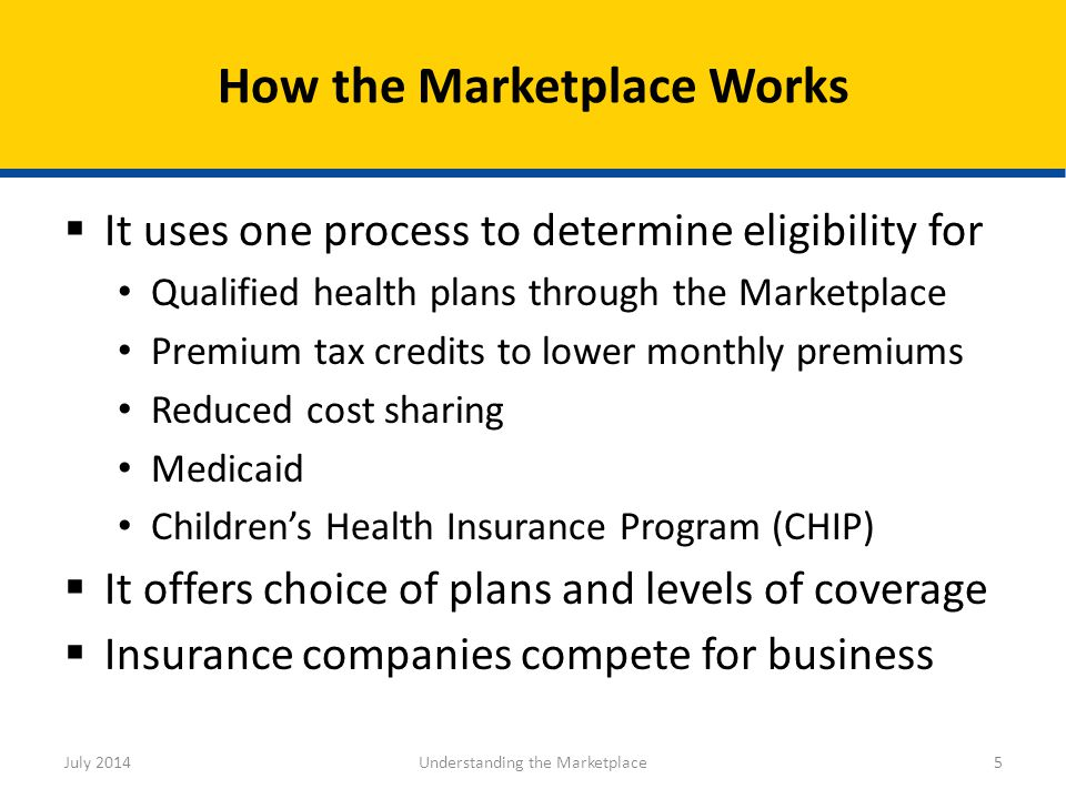  It uses one process to determine eligibility for Qualified health plans through the Marketplace Premium tax credits to lower monthly premiums Reduce