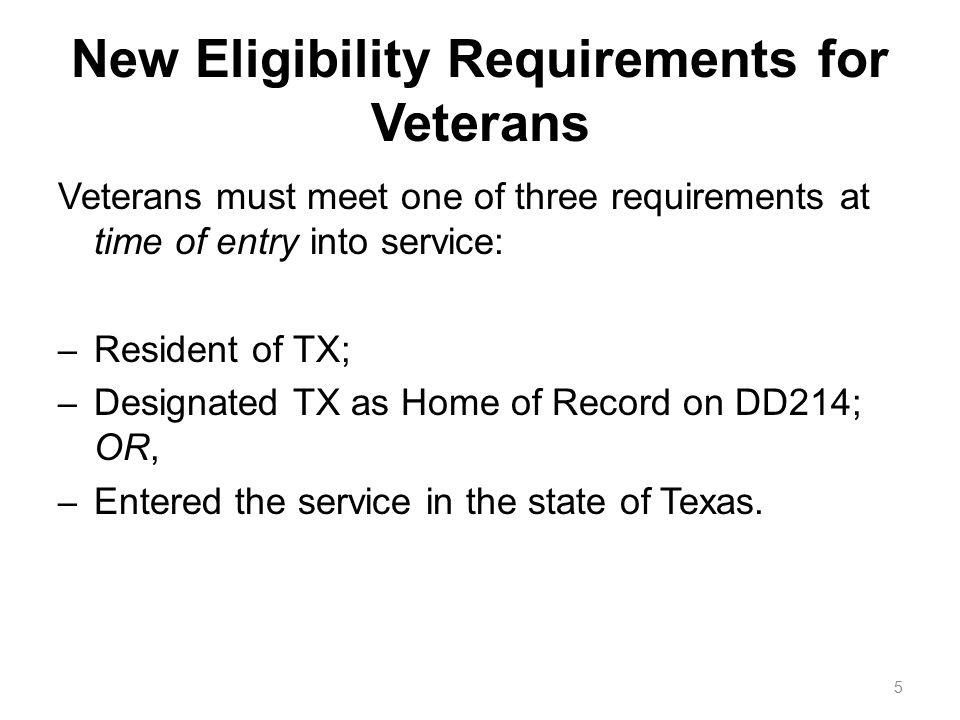 Eligibility Requirements for a Veteran's Child or Spouse Eligible dependent (child or spouse) of a member of U.S.