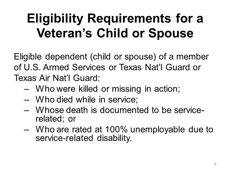 7 Supporting Documentation Appropriate Hazlewood application Plus: a.DD214 for the veteran, or b.DD1300 for surviving dependent; or, c.a Rating Decision Letter for the dependent of a qualified disabled vet.