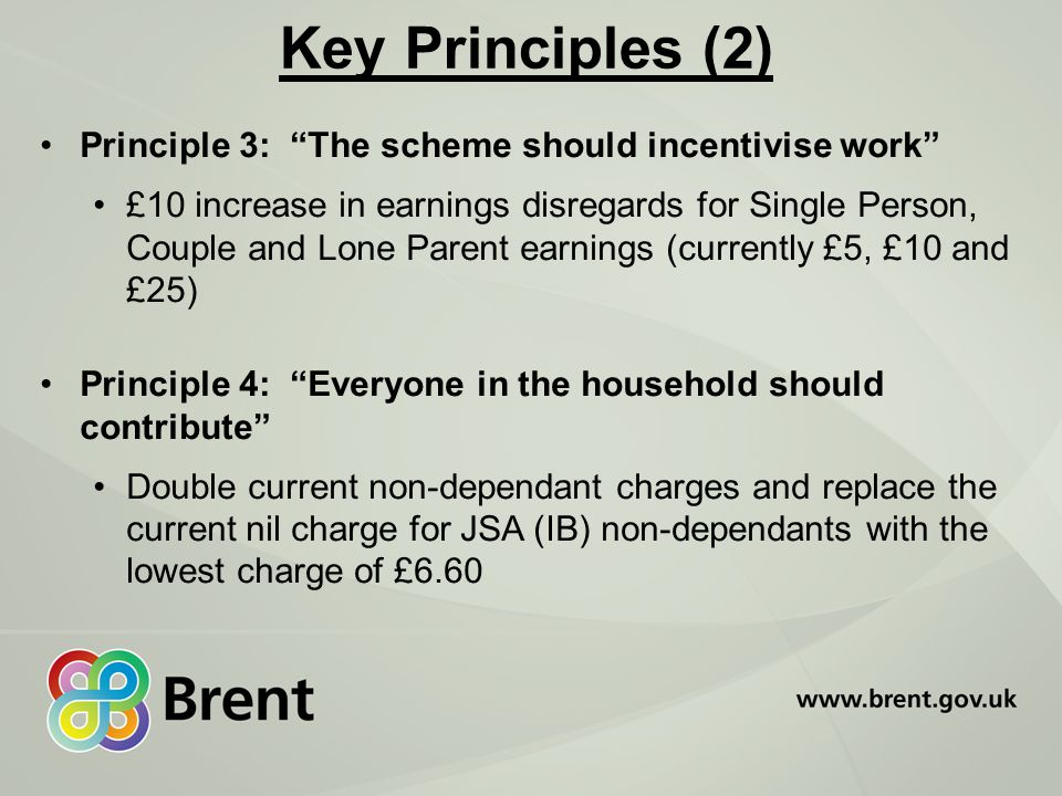 Key Principles (2) Principle 3: The scheme should incentivise work £10 increase in earnings disregards for Single Person, Couple and Lone Parent earnings (currently £5, £10 and £25) Principle 4: Everyone in the household should contribute Double current non-dependant charges and replace the current nil charge for JSA (IB) non-dependants with the lowest charge of £6.60
