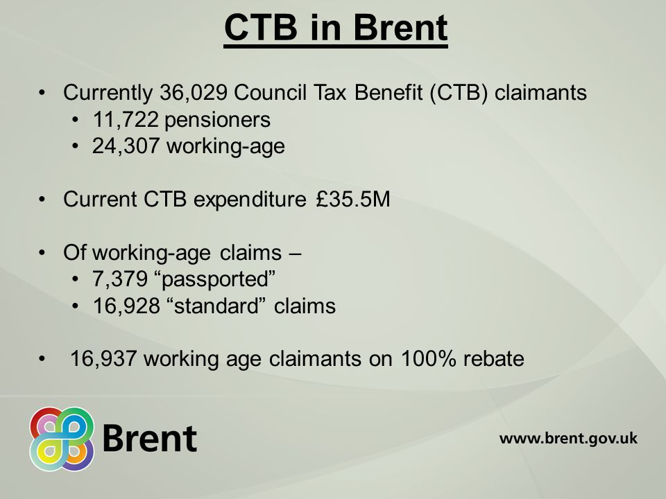 CTB in Brent Currently 36,029 Council Tax Benefit (CTB) claimants 11,722 pensioners 24,307 working-age Current CTB expenditure £35.5M Of working-age claims – 7,379 passported 16,928 standard claims 16,937 working age claimants on 100% rebate