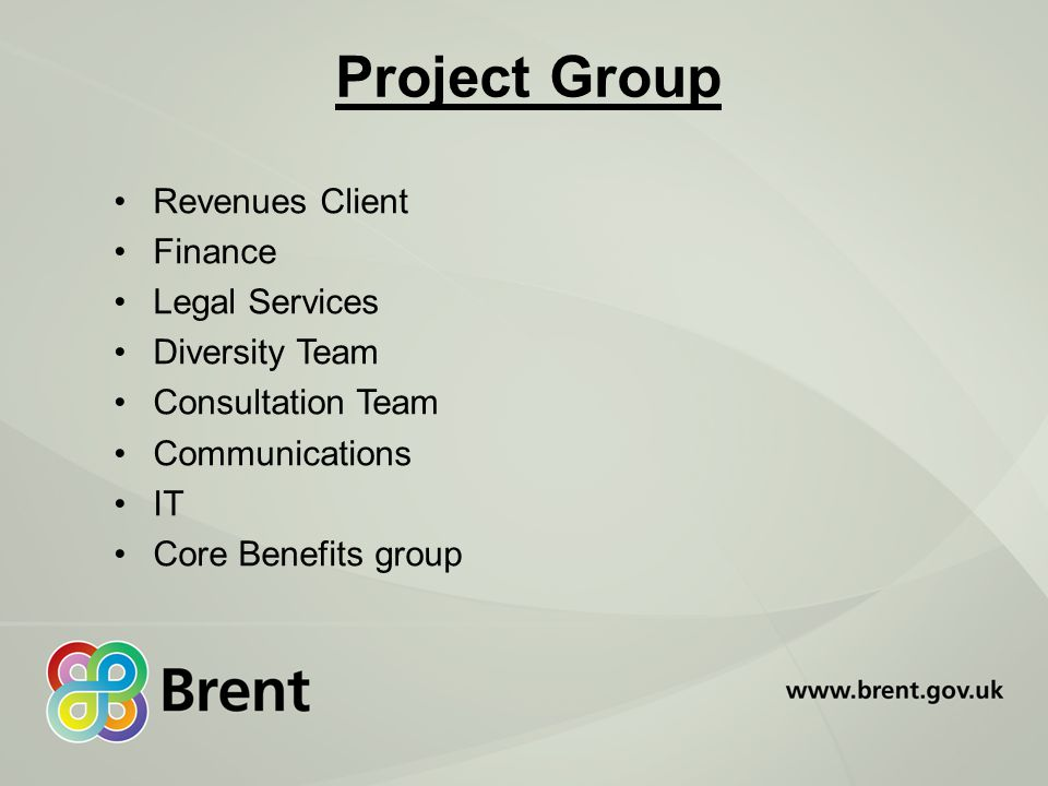 Project Group Revenues Client Finance Legal Services Diversity Team Consultation Team Communications IT Core Benefits group