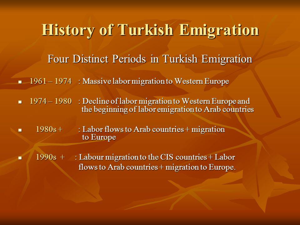 History of Turkish Emigration Four Distinct Periods in Turkish Emigration 1961 – 1974 : Massive labor migration to Western Europe 1961 – 1974 : Massiv