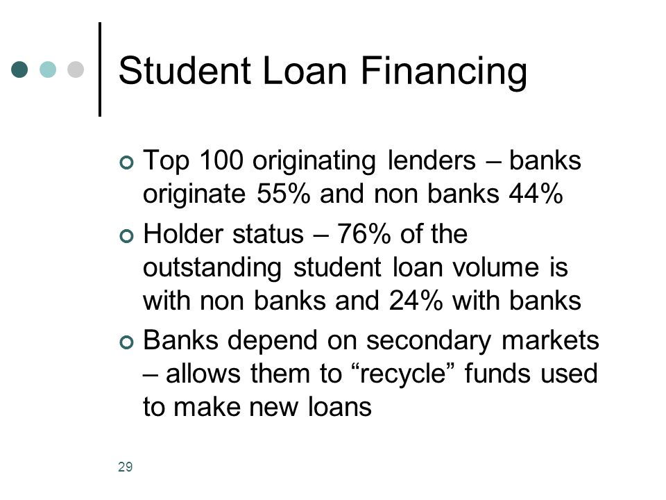 29 Student Loan Financing Top 100 originating lenders – banks originate 55% and non banks 44% Holder status – 76% of the outstanding student loan volume is with non banks and 24% with banks Banks depend on secondary markets – allows them to recycle funds used to make new loans