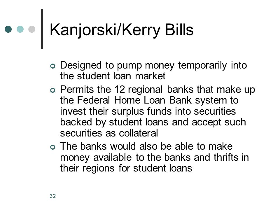 32 Kanjorski/Kerry Bills Designed to pump money temporarily into the student loan market Permits the 12 regional banks that make up the Federal Home Loan Bank system to invest their surplus funds into securities backed by student loans and accept such securities as collateral The banks would also be able to make money available to the banks and thrifts in their regions for student loans