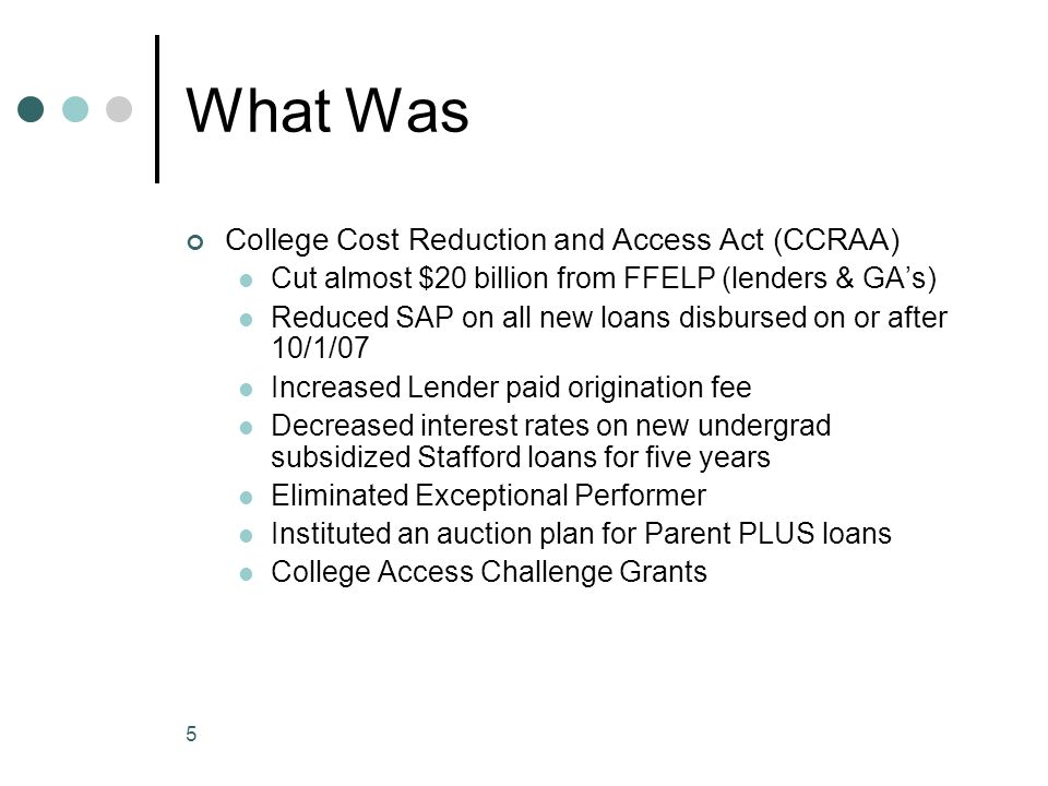 5 What Was College Cost Reduction and Access Act (CCRAA) Cut almost $20 billion from FFELP (lenders & GA's) Reduced SAP on all new loans disbursed on or after 10/1/07 Increased Lender paid origination fee Decreased interest rates on new undergrad subsidized Stafford loans for five years Eliminated Exceptional Performer Instituted an auction plan for Parent PLUS loans College Access Challenge Grants