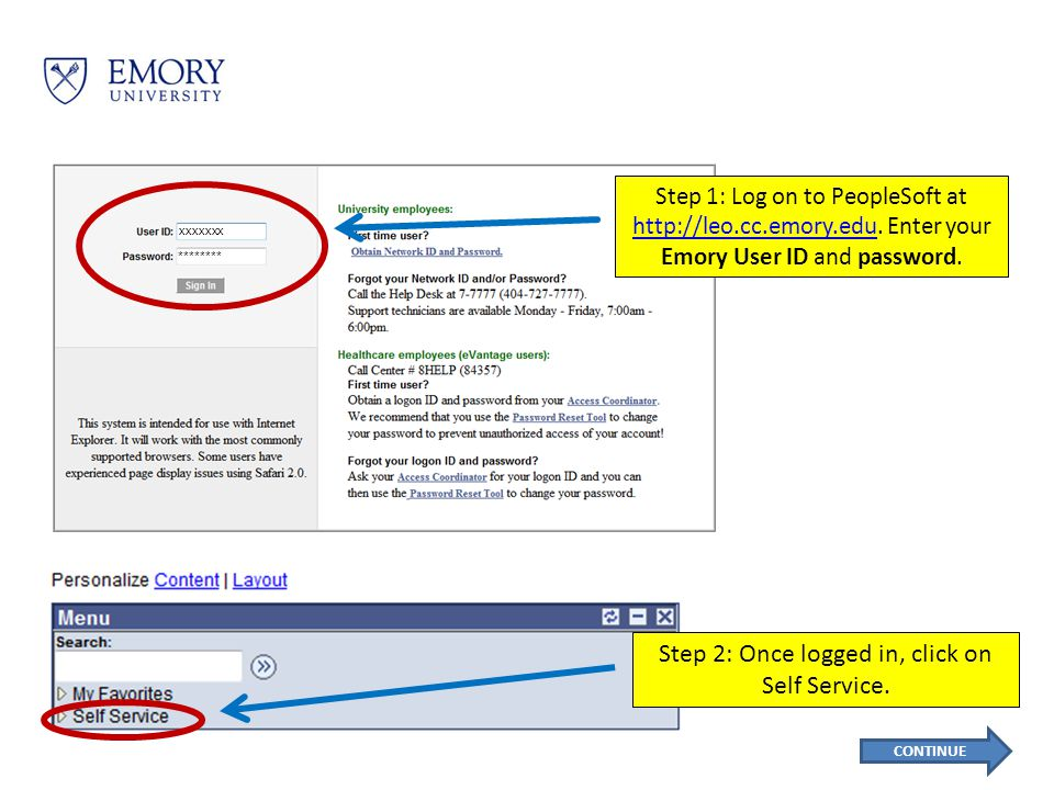 Step 1: Log on to PeopleSoft at http://leo.cc.emory.edu.